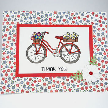 Thank You Card, Bicycle Card, Thanks card, bicycle thank you, bike card, flower card, Handmade greeting card, Red White Blue