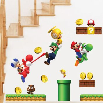 [Fundecor] new pvc Super Mario Bros Wall Sticker Home Decor For Kids Rooms children's decals stickers games free mario