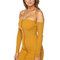 Zipper Front Off The Shoulder Dress