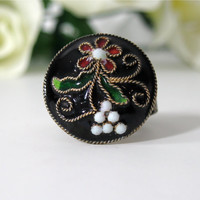 Adjustable Ring Cocktail Vintage Button Black by NewToYouJewelry