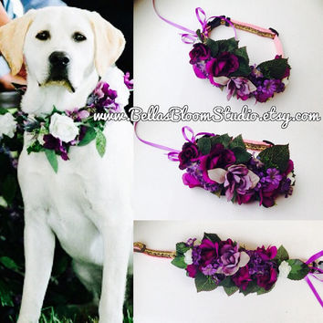 Dog wedding Leash Dog Wedding Leash and Collar Dog Collar and Leash Set Pet Wedding Attire Dog flower crown wreath Dog flower girl etsy
