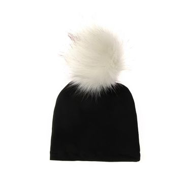1PC New Fashion Cute Newborn Winter Warm Knitted Hat  Baby Girl Boy Soft Cotton Hat Cap Beanie With Fluffy Fur Ball Hat
