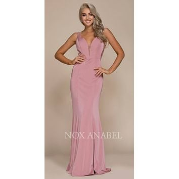 Mauve Floor Length Prom Dress Illusion Open Back