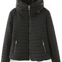 Black Quilted Long Sleeve Zipper Pockets  Hooded Coat