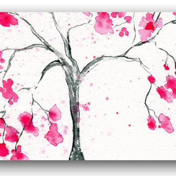 Cherry Blossom Tree Fine Art Note Card from my original watercolor painting all occasion thank you card - greeting card  blank inside