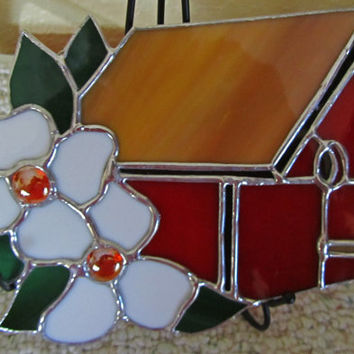 Stained Glass Bird House ~ Bird House Suncatcher ~ Tiffany Style Stained Glass ~  Glass Bird House ~