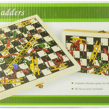 Recreational Wooden Snakes & Ladders Folding Game with Pair of Dice '