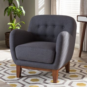 Baxton Studio Sophia Mid-Century Dark Grey Fabric Upholstered Button-Tufted Armchair Set of 1