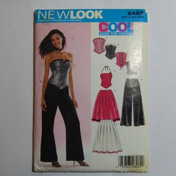 New Look Sewing Pattern 6480 Cool Sizes for Juniors Halter Top, Strapless, Corset, Pleated Skirt, Pants