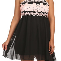 Print Racer Back A Line Dress - Pink - Plus Size