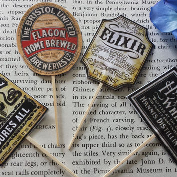 24 Pieces Vintage Bottle Labels Cupcake Toppers Picks for Birthday Special Occassion Decorations DIY Party Supplies