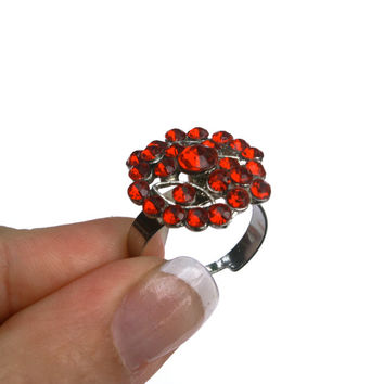 10 dollar SALE!!...Red Rhinestone Adjustable Ring Vintage Silver Tone Costume Ring