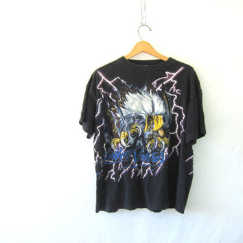 Vintage black Eagle TShirt. Grunge Cut tee Shirt. Follow Nobody / American Thunder and Lightning tee