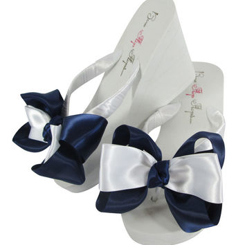 Navy White Wedge Wedding Flip Flops - Bridesmaid Bridal Flip Flops,  Ivory Bride Bridal Shoes, Flower Girl Sandals, Flat Heel