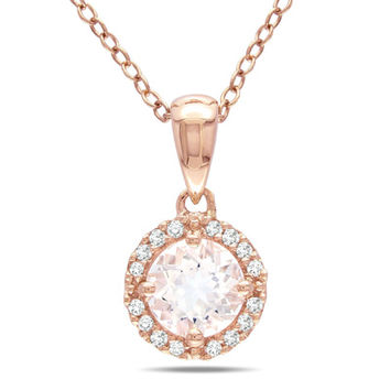6.0mm Morganite and Diamond Accent Frame Pendant in 10K Rose Gold - 17