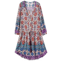 Tribal Print V Neck Long Sleeve Ruffled Dress
