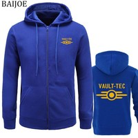 New Hoodies men Fashion Vault -Tec logo Gaming Video Game Fallout print Casual Apparel Hoodies Sweatshirts Men Outerwear Hoody