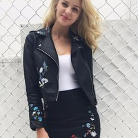 Casual faux leather jacket