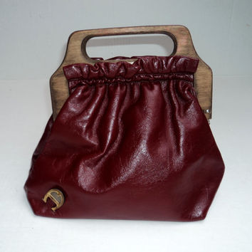 Oxblood Leather Handbag with Wooden Handles by Etienne Aigner