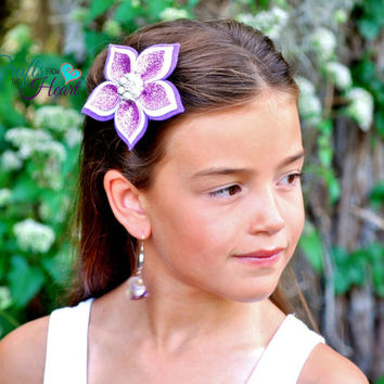 Felt Flower Clip - Purple and White - Layered Felt Flower Clip - Headband - Flower Clip - Felt Flower - Wool blend felt - Baby Child Adult