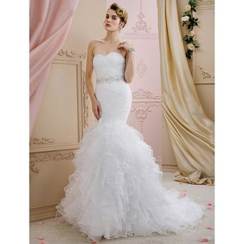 Mermaid Wedding Dress Trumpet Sweetheart Court Train Sweep  Brush Train Organza Bridal Gown with Sashes Ribbons