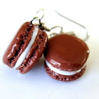 French Macaron Earrings, Chocolate Cocoa Brown, Hypoallergenic Surgical Steel Hooks. Jewelry for Girls, Tweens, Teens, Young Women.