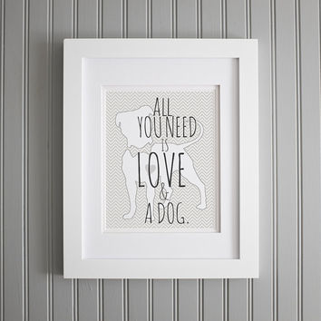 All You Need Is Love and a Dog Art, John Lennon Inspired Print, Valentine's Day Poster, Print for Love, Art Print Decor Poster Quote Art