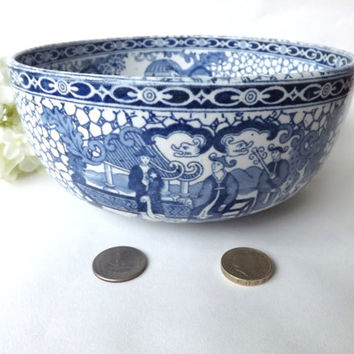 Vintage Fruit Bowl Adams Ironstone Chinese Pattern, British Blue and White, Salad Dish, Shabby Interior Plant Pot 1930 Staffordshire Pottery