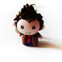 Doctor Who 10th Doctor Chibi Charm Necklace by MadAristocrat