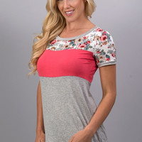 A Hint of Floral Top - Coral - Ships Tuesday 3/14