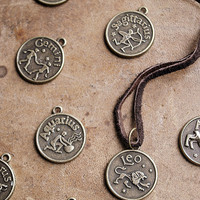 Mens Basic Zodiac Necklace - Choose Your Sign - Unisex Zodiac Necklace - leather - Horoscope - For Him