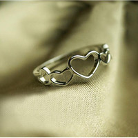 925 Silver Hollow Heart Ring