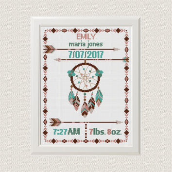 dreamcatcher Cross stitch Birth announcement cross stitch pattern baby sampler  new baby girl birthday gift nursery decor wall art