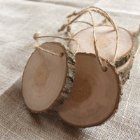 50 Natural Wood Round Hanging Tags, Pack of 50 Natural Wood Hanging Circles, 50 Natural Wood Hanging Slices, Natural Wooden Slices