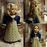 "18 inch historical doll clothes ""Regency Blue & Gold"" will fit American Girl® 1800's Regency era spencer jacket OOAK  C1"