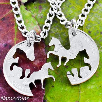 Cowgirl Horses Best Friends Necklace set from a Coin
