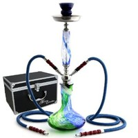 "GSTAR 22"" 2 Hose Hookah Complete Set with Optional Carrying Case - Swirl Art Glass Vase - (Ocean Blue w/ Case)"