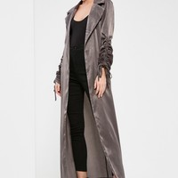 Missguided - Tall Exclusive Grey Ruched Sleeve Satin Duster Coat
