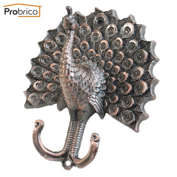 Probrico 5 Pcs Peacock Shape Coat Hook Zinc Alloy Curtain Tiebacks Antique Copper Wall Decor Vintage Cloth Hat Hanger Hl01Lac