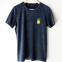 Pineapple Relaxed Tee - Acid Wash Black