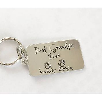 Best Grandpa Ever Hand Stamped Keychain Gift