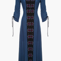 Blue Embroidered Midi Dress