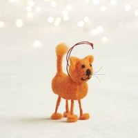 Orange Felt Cat Ornament