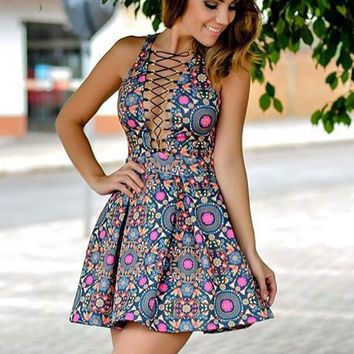 Summer Printed Sleevless Straps Princess Mini Dress