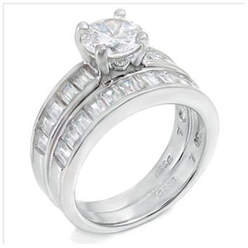 Sterling Silver .85 carat Round cut CZ and Emerald cut Channel Set Wedding Ring set size 5-9