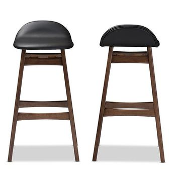 Baxton Studio Bloom Mid-century Retro Modern Scandinavian Style Black Faux Leather Upholstered Walnut Wood Finishing 30-Inches Bar Stool Set of 2