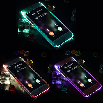 For iPhone 5 5S SE 6 6s 7Plus Cases Incoming Call Flash Light Up Anti Knock phone shell Glitter TPU LED Blink Phone Shell Covers