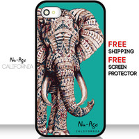 Tribal African Elephant IPhone 5C Phone Case Elegant IPhone 4S Case Girly Design Green Vintage Elephant IPhone 5C Case Fashionable Case