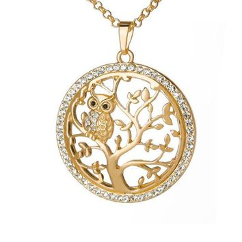 Small Owl and Tree Of Life Pendant Necklace