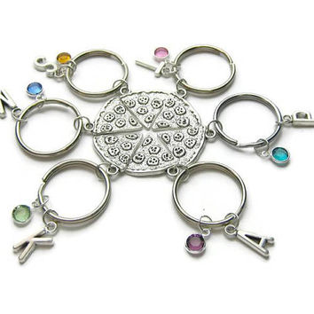 Best Friends Pizza Keychains, Friends Pizza Keychains, BFF Pizza Keychains, Pizza Keychains, Set Of 2,3,4,5,6 Pizza Keychains, Personalized